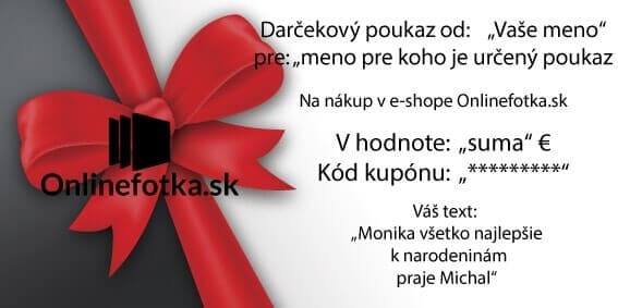 Vzor darčekového poukazu na nákup v sehope Onlinefotka.sk - Zlava na nákup